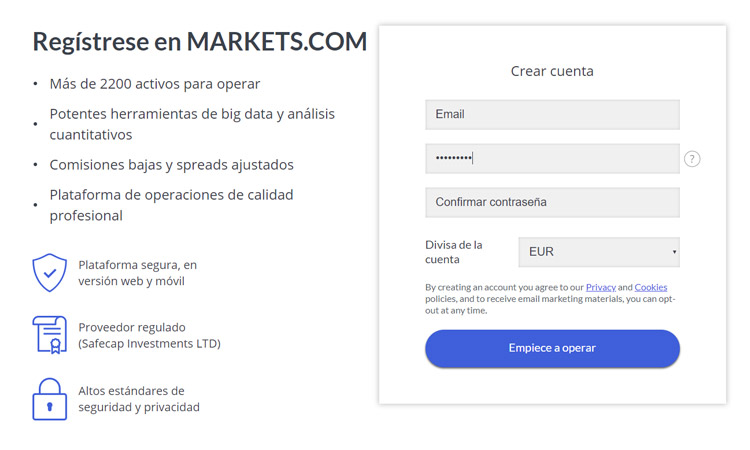 markets registrarse